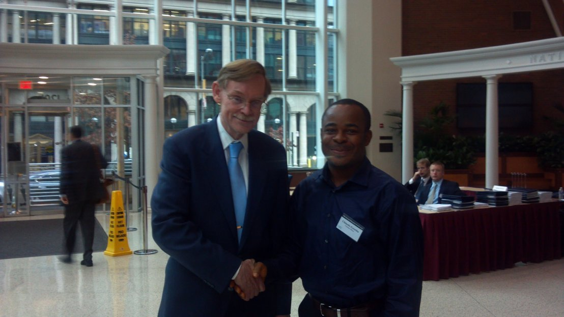 Our Founder and Editor, Mr. Chinedu Ezeocha with former World Bank President, Bob Zoellick at the CATO Institute's 29th Annual Monetary Conference held at CATO Institute's Building, Washington DC. November 16, 2011.
