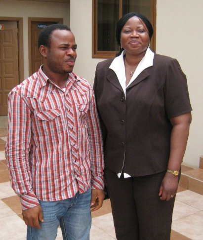 Our Founder and Editor, Mr. Chinedu Ezeocha with the Chief Prosecutor of International Criminal Court,  Mrs. Fatou Bensouda at the Kofi Annan International Peacekeeping Training Centre, Accra, Ghana. May 20, 2011.