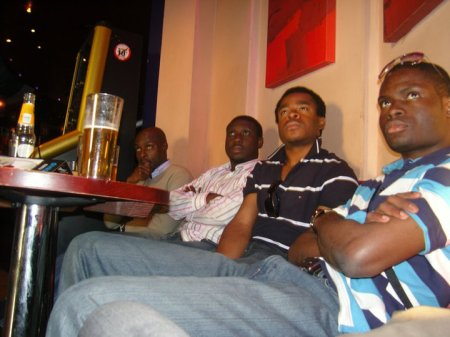 From Right to Left – Chikelue Uwafili, Ezeocha Post's Chinedu Ezeocha, Michael Amankwa, and Akin Omoyoruba as we watch the UEFA Euro 2008 Soccer Championship Final between Spain and Germany in a Blackpool bar. June 29, 2008.