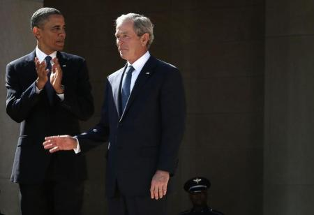 President Barack Obama and former President George W. Bush arrive at the opening ceremony of the George W. Bush Presidential Center in Dallas in 2013. (Photo: Alex Wong/Getty Images)